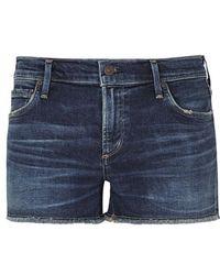 Citizens of Humanity - Ava Dark Blue Frayed Denim Shorts - Lyst