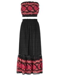 Free People - Rosebud Black Cotton-blend Top And Skirt - Lyst