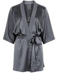 Fleur Of England - Wilderness Grey Silk-blend Robe - Lyst