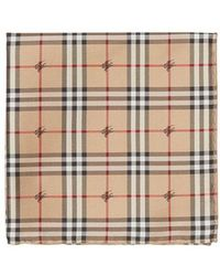 Burberry - Equestrian Knight Check Silk Pocket Square - Lyst