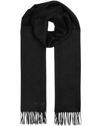 COACH - Black Embroidered Wool Blend Scarf - Lyst