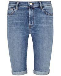 J Brand - 811 Blue Skinny Shorts - Lyst
