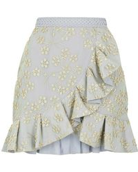 Self-Portrait - Floral-embroidered Tulle Mini Skirt - Lyst