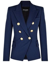Balmain - Navy Double-breasted Wool Blazer - Lyst
