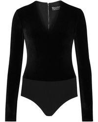 Alice + Olivia - Lacy Plunge-front Velvet Bodysuit - Size L - Lyst