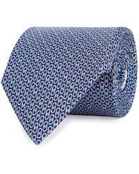 Ferragamo - Navy Printed Silk Tie - Lyst