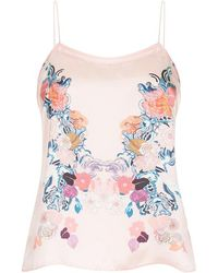 Meng | Pink Floral Silk Satin Camisole | Lyst