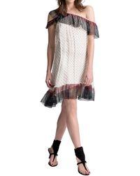 Max Studio - Silk Mesh Chiffon One Shoulder Dress - Lyst