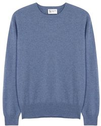 Johnstons - Blue Cashmere Jumper - Size 38 - Lyst