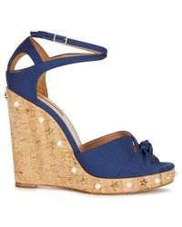 Aquazzura - Harlow Navy Grosgrain Wedge Sandals - Lyst