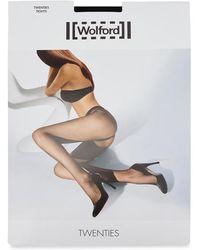 Wolford - Twenties Black Micro-fishnet Tights - Size L - Lyst