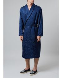 Meng - Men S Navy Floral Silk Jacquard Dressing Gown - Lyst