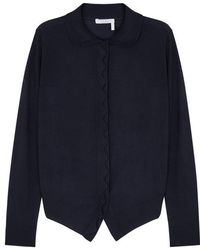 Chloé - Navy Scalloped-trimmed Wool Cardigan - Lyst