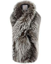 Lilly E Violetta - Arabella Grey Fox Fur Scarf - Lyst
