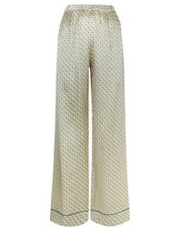 Meng - Gold Geometric Silk Satin Trousers - Lyst