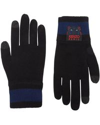 KENZO - Black Tiger-embroidered Wool Gloves - Lyst