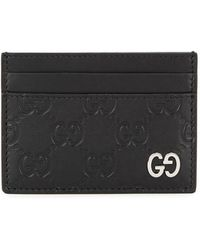 Gucci - Gg Black Leather Card Holder - Lyst