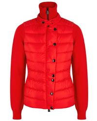 Moncler Grenoble - Red Panelled Wool Blend Jacket - Lyst