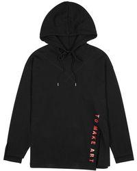 SJYP - Black Hooded Cotton Sweatshirt - Lyst