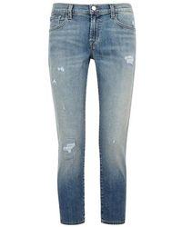 J Brand - Sadey Distressed Straight-leg Jeans - Lyst