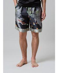 Meng - Men S Black & Grey Printed Long Silk Satin Shorts - Lyst