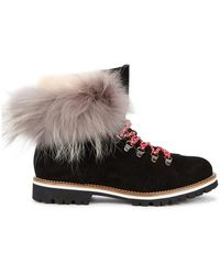 Mr & Mrs Italy - Fur-trimmed Suede Ankle Boots - Lyst
