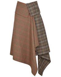 Monse - Checked Wool-blend Wrap Skirt - Lyst