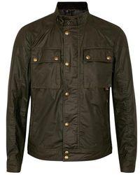 Belstaff - Racemaster Olive Coated Cotton Jacket - Size 40 - Lyst