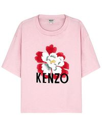 3bef4530 Kenzo White Logo-print Cotton T-shirt in White - Lyst