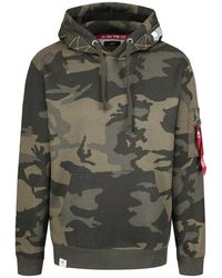 Alpha Industries - Printed Tape Hoody Olive Camo - Lyst