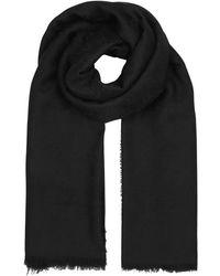 Gucci - Gg Jacquard Black Wool Scarf - Lyst