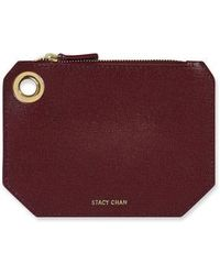 Stacy Chan London Small Ava Pouch In Bordeaux Saffiano Leather - Purple