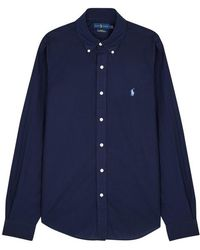 Polo Ralph Lauren - Navy Slim Poplin Shirt - Lyst