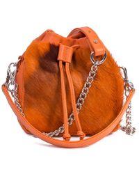 Sherene Melinda - Orange Lou Lou Pouch Bag With A Stripe - Lyst