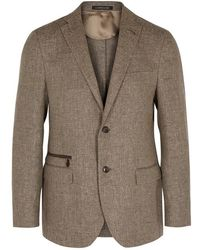 Corneliani - Brown Linen-blend Blazer - Lyst