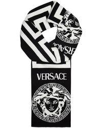 Versace - Monochrome Medusa Wool Scarf - Lyst