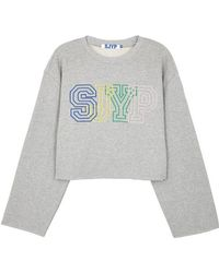 SJYP - Grey Logo-embroidered Cropped Sweatshirt - Lyst