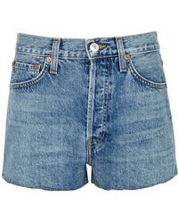 RE/DONE - The Short Blue Denim Shorts - Lyst