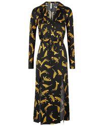 Bec & Bridge - Black Cheetah-print Satin Midi Dress - Lyst