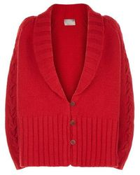Varana - Red Cabled Cashmere Cardigan - Lyst