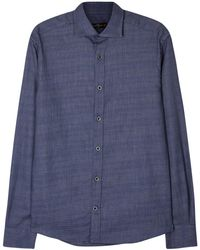 Corneliani - Navy Textured Cotton Shirt - Lyst