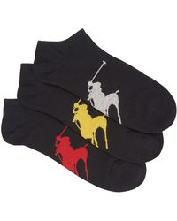 Pink Pony - Black Trainer Socks - Set Of Three - Lyst
