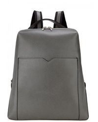 Valextra - Slate Grey Soft Grained Leather Backpack - Lyst