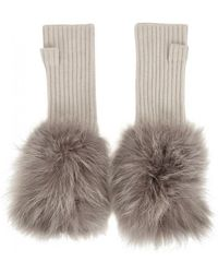 Hockley - Frida Fur-trimmed Cashmere Fingerless Mittens - Lyst
