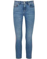 Alexander McQueen - Striped Cropped Skinny Jeans - Lyst
