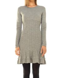 Leon Max - Wool Crepe Knitted Long Sleeved Dress - Lyst