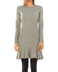 Max Studio - Wool Crepe Knitted Long Sleeved Dress - Lyst
