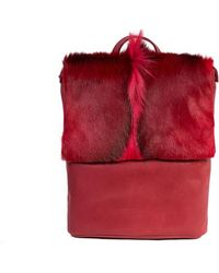 Sherene Melinda - Red Leather Backpack With A Fan - Lyst