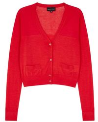 Emporio Armani - Red Cropped Fine-knit Wool Cardigan - Lyst