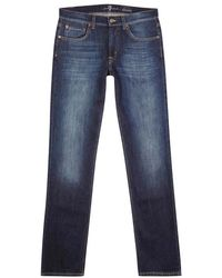 7 For All Mankind - Slimmy Dark Blue Slim-leg Jeans - Size W30 - Lyst